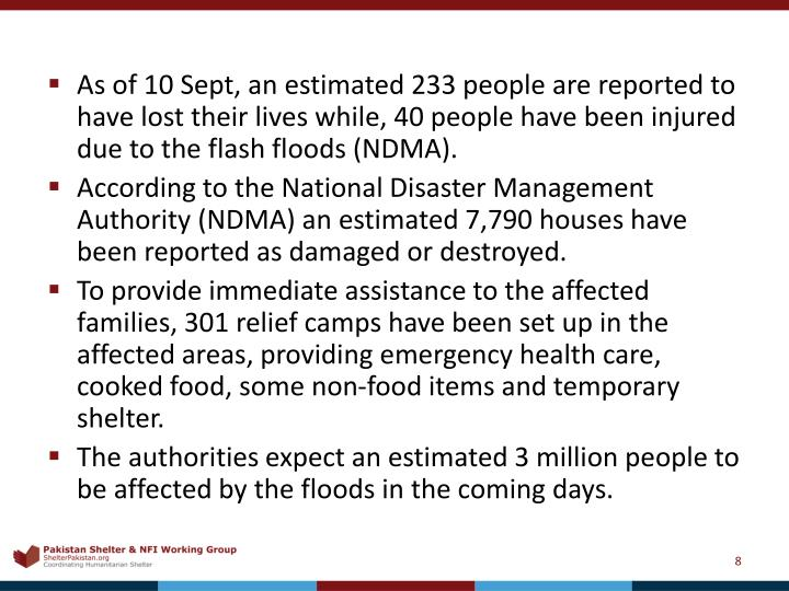 As of 10 Sept, an estimated 233 people are reported to have lost their lives while, 40 people have been injured due to the flash floods (NDMA).
