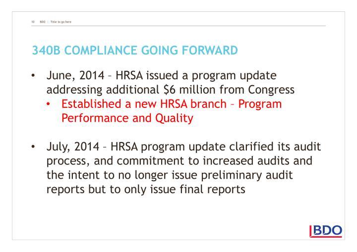340B compliance going forward
