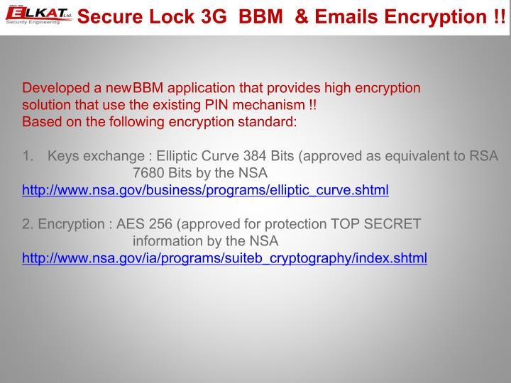 Secure Lock 3G  BBM  & Emails Encryption !!