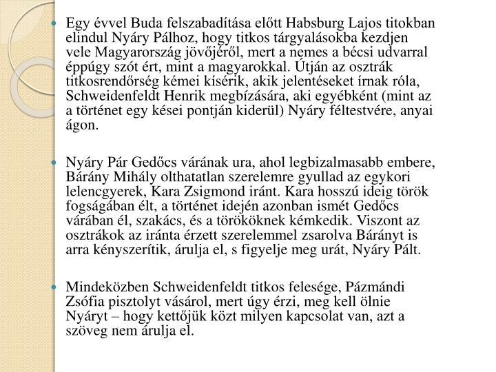 Egy évvel Buda felszabadítása előtt Habsburg Lajos titokban elindul Nyáry Pálhoz, hogy titkos tárgyalásokba kezdjen vele Magyarország jövőjéről, mert a nemes a bécsi udvarral éppúgy szót ért, mint a magyarokkal. Útján az osztrák titkosrendőrség kémei kísérik, akik jelentéseket írnak róla,