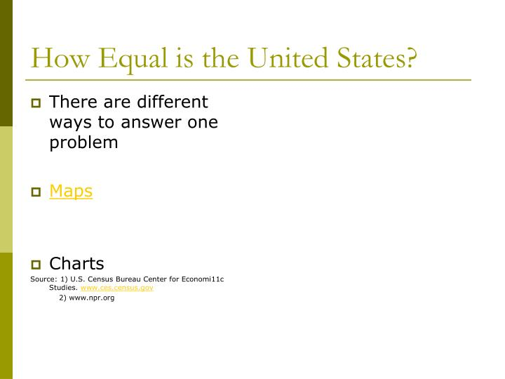 How equal is the united states