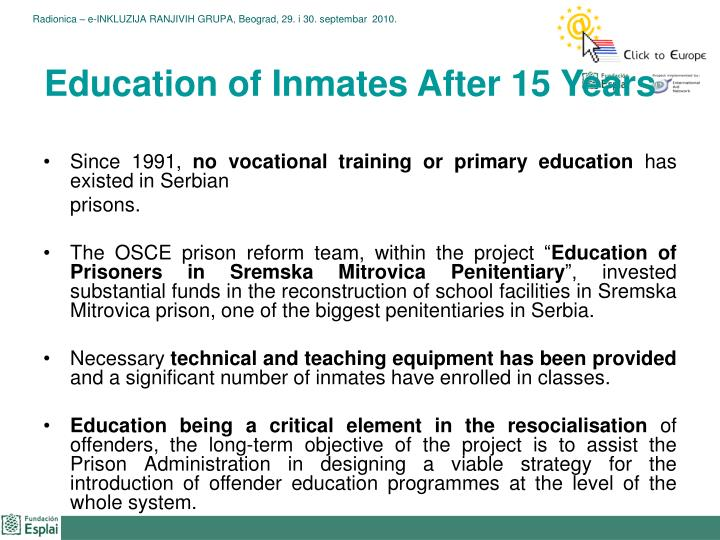 Education of Inmates After 15 Years