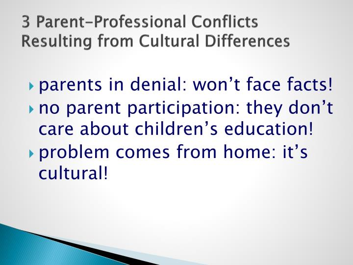 3 Parent-Professional Conflicts Resulting from Cultural Differences