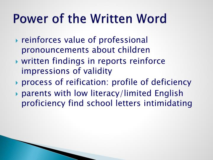Power of the Written Word