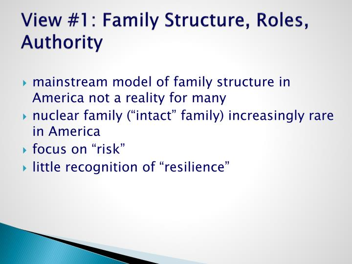 View #1: Family Structure, Roles, Authority