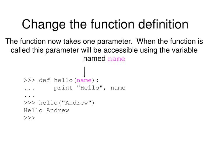 Change the function definition