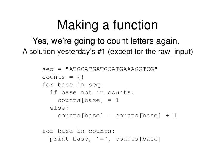 Making a function