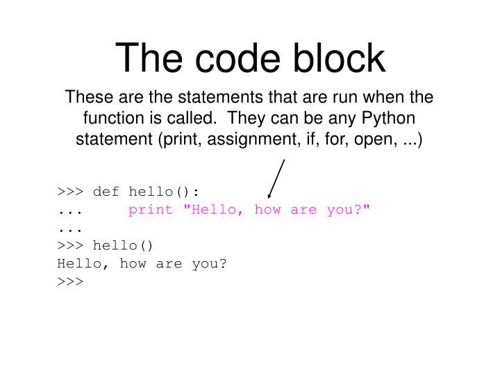 The code block