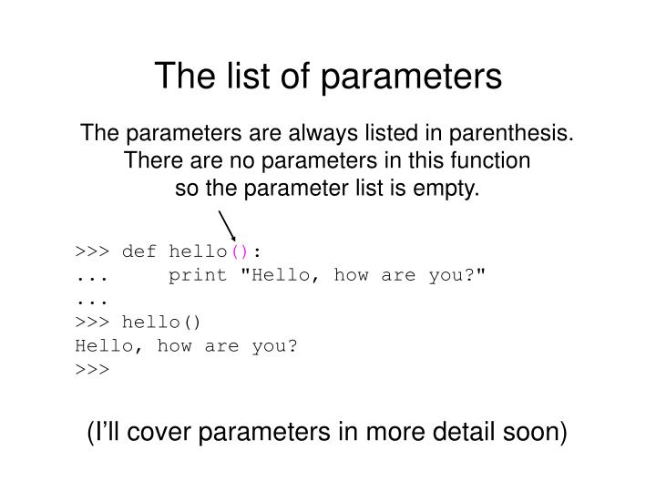 The list of parameters