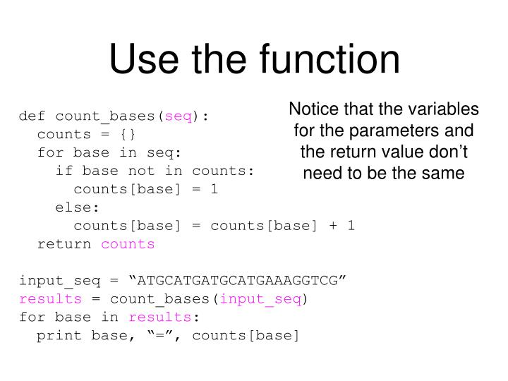 Use the function