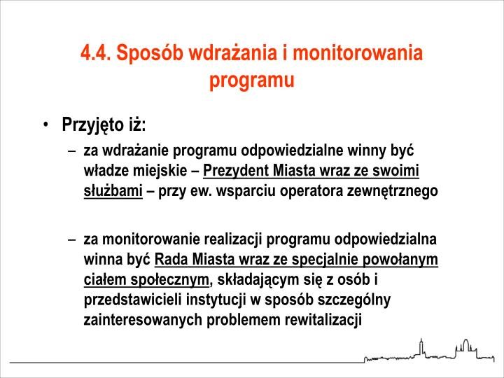 4.4. Sposób wdrażania i monitorowania programu
