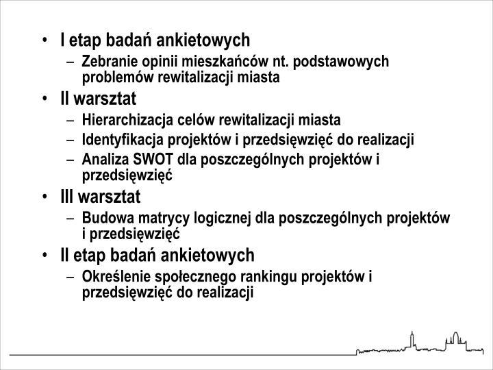 I etap badań ankietowych