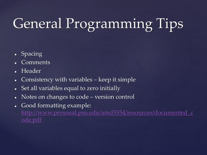 General programming tips