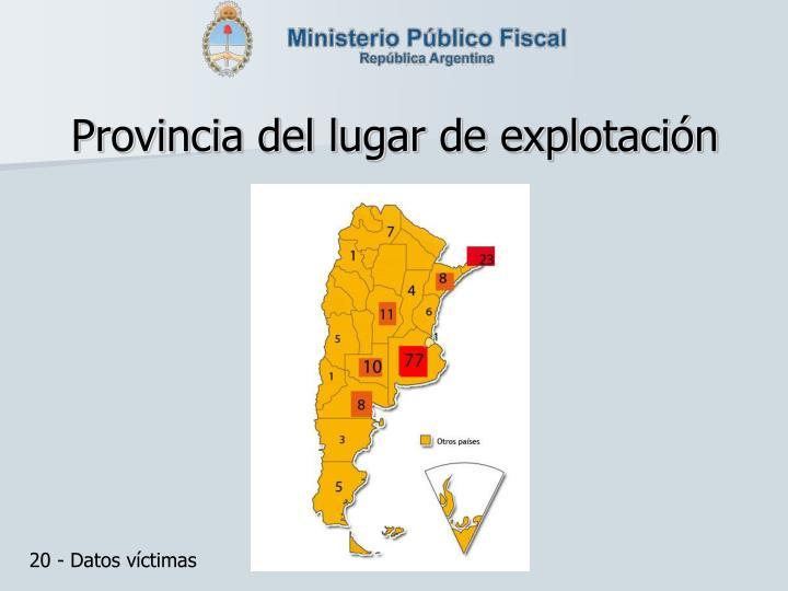 Provincia del lugar de explotación