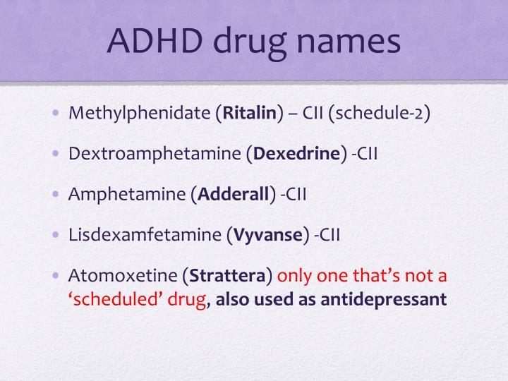 ADHD drug names