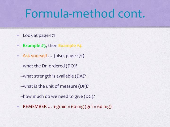Formula-method cont.