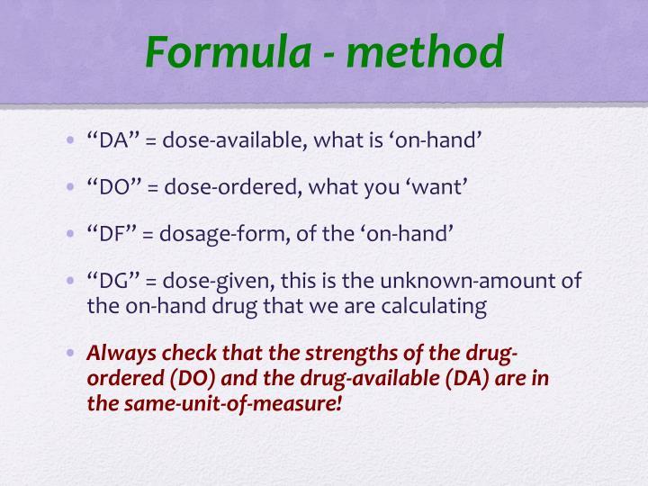 Formula - method