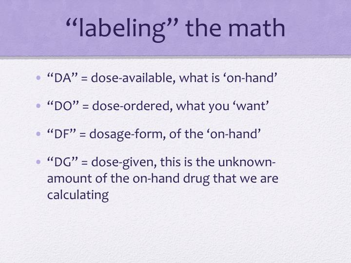 """""""labeling"""" the math"""