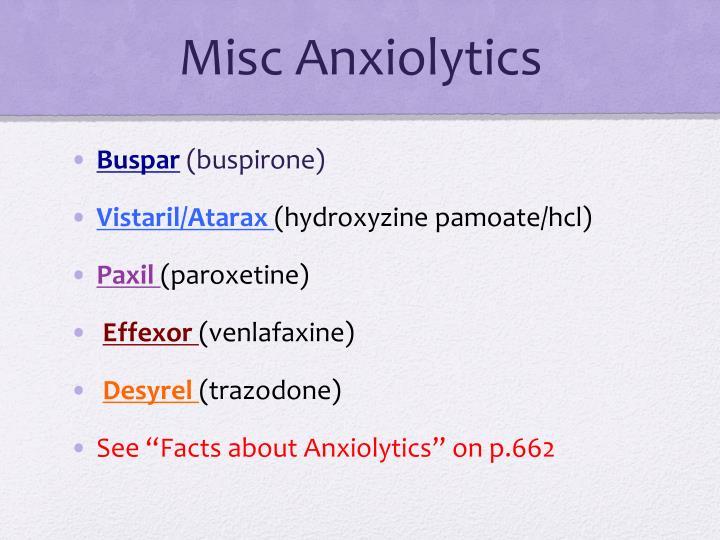 Misc Anxiolytics