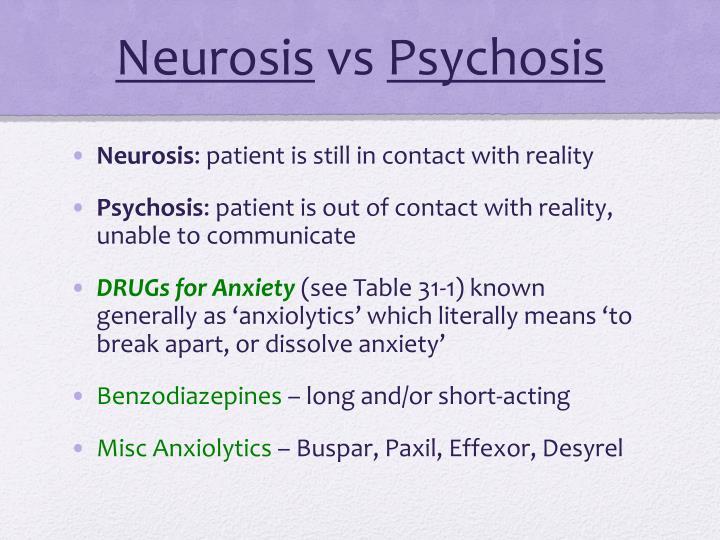 Neurosis vs psychosis