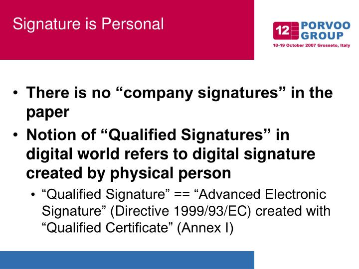 Signature is personal