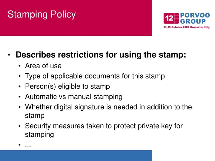Stamping Policy