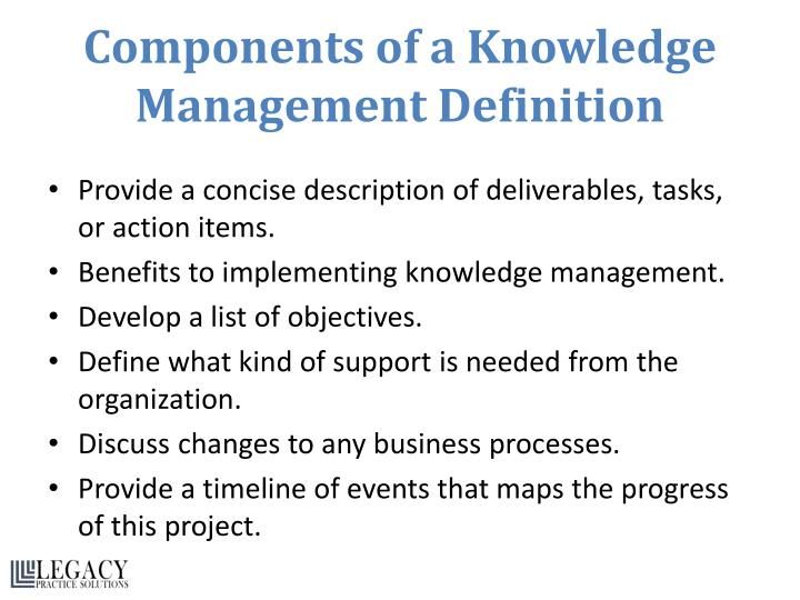 Components of a Knowledge Management Definition