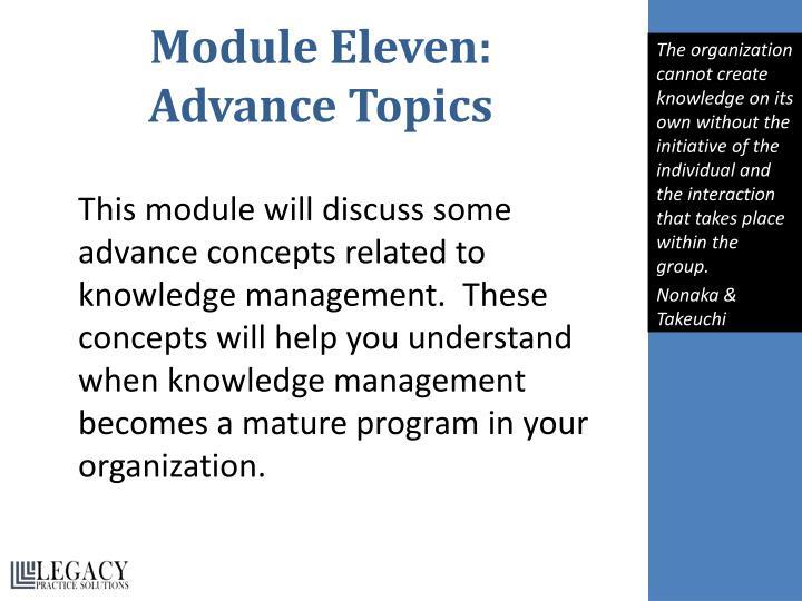 Module Eleven: