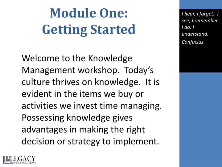 Module one getting started
