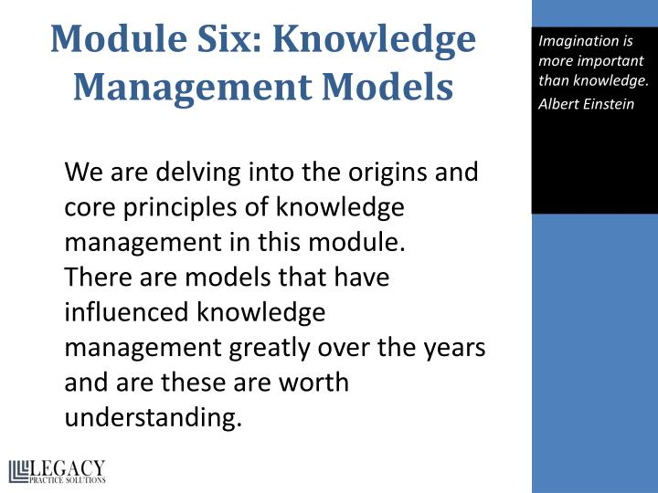 Module Six: Knowledge Management Models