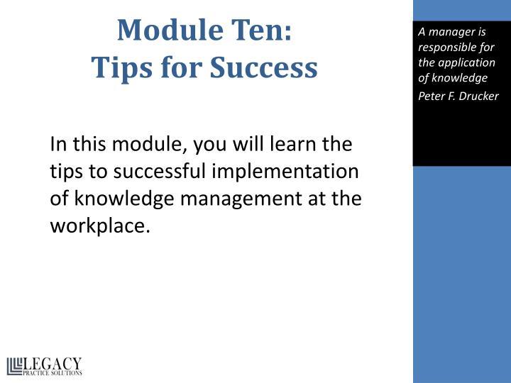 Module Ten: