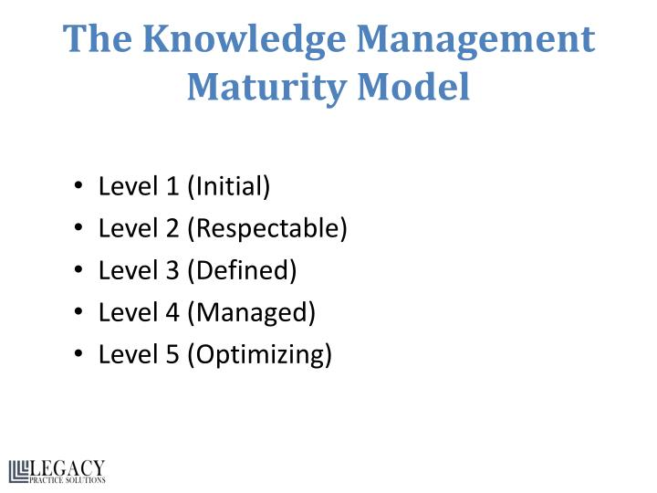 The Knowledge Management Maturity Model
