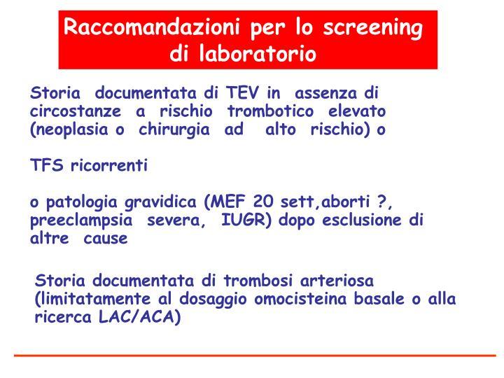 Raccomandazioni per lo screening
