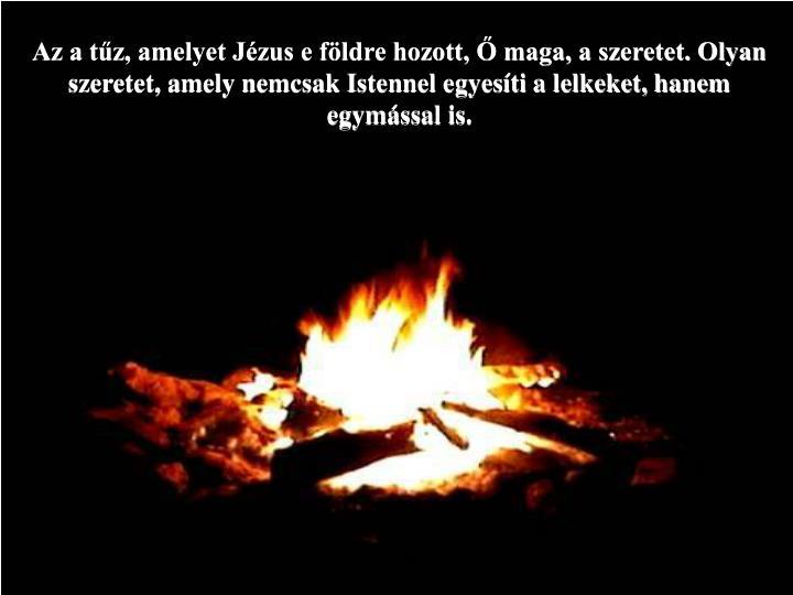 Az a tűz, amelyet Jézus e földre hozott, Ő maga, a szeretet. Olyan szeretet, amely nemcsak Istennel egyesíti a lelkeket, hanem egymással is.
