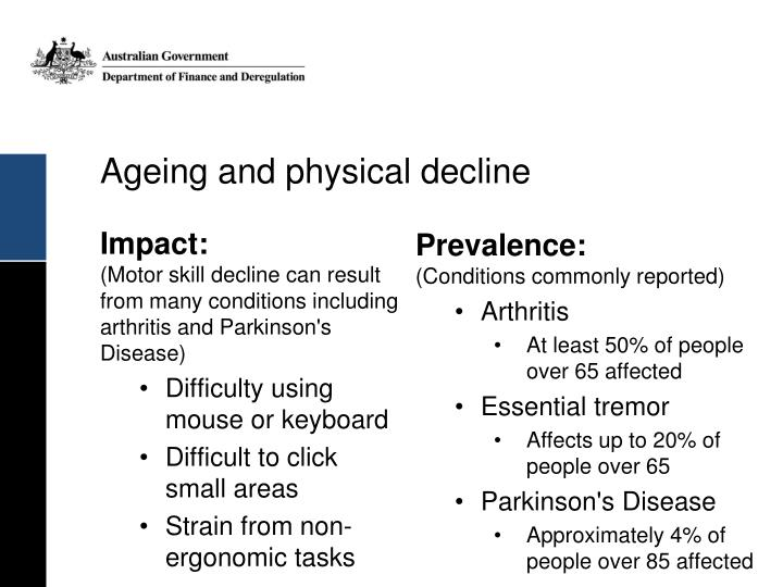 Ageing and physical decline