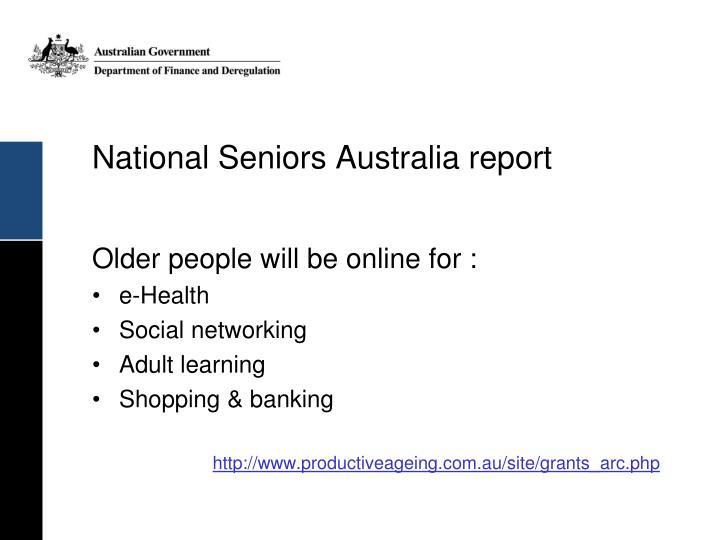 National Seniors Australia report