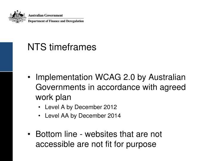 NTS timeframes