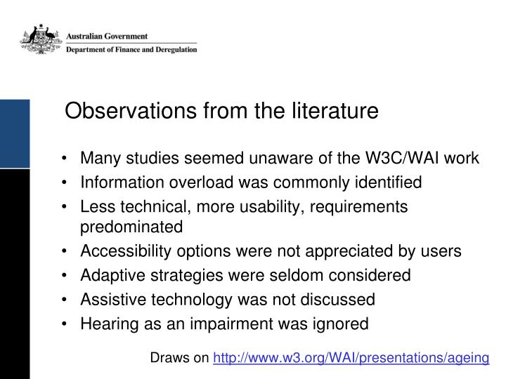 Observations from the literature