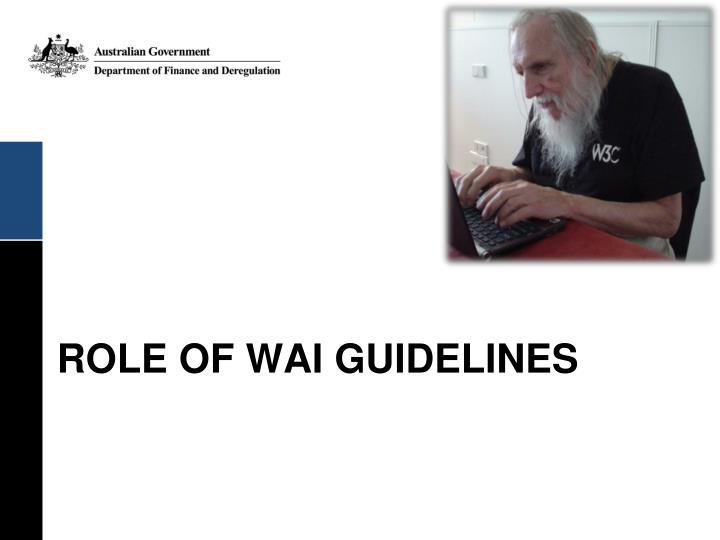 ROLE OF WAI GUIDELINES