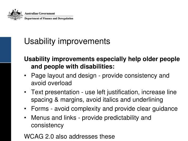Usability improvements