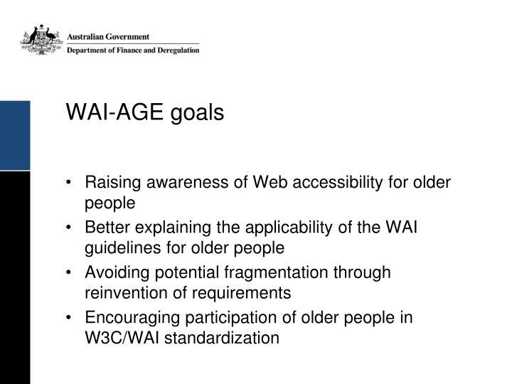 WAI-AGE goals