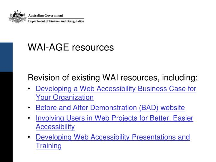 WAI-AGE resources
