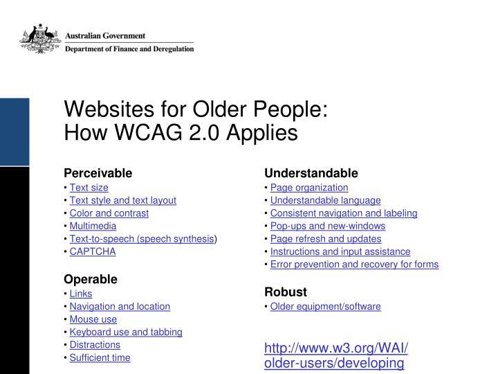 Websites for Older People: