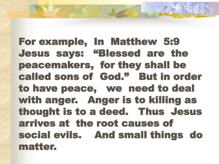 """For example,  In  Matthew  5:9   Jesus  says:   """"Blessed  are  the peacemakers,  for they shall be  called sons of  God.""""   But in order  to have peace,   we  need to deal with anger.   Anger is to killing as  thought is to a deed.   Thus  Jesus  arrives at  the root causes of social evils.    And small things  do  matter."""