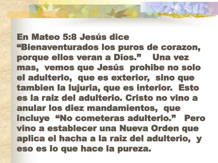 """En Mateo 5:8 Jesús dice """"Bienaventurados los puros de corazon, porque ellos veran a Dios.""""    Una vez mas,  vemos que Jesús  prohibe no solo el adulterio,  que es exterior,  sino que tambien la lujuria, que es interior.  Esto es la raiz del adulterio. Cristo no vino a anular los diez mandamientos,  que incluye  """"No cometeras adulterio.""""   Pero vino a establecer una Nueva Orden que aplica el hacha a la raiz del adulterio,  y eso es lo que hace la pureza."""