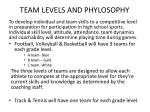 team levels and phylosophy