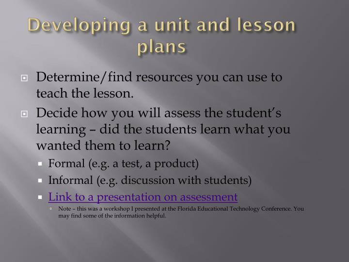 Developing a unit and lesson plans