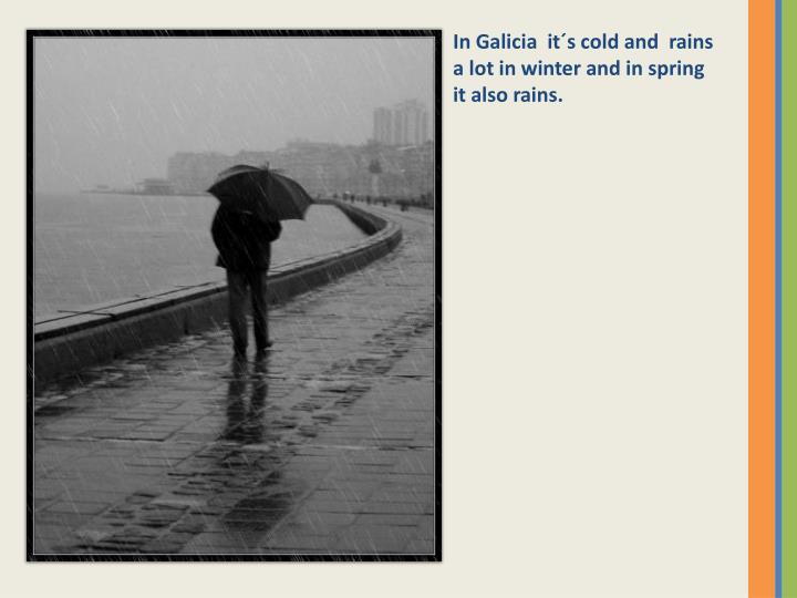 In Galicia  it´s cold and  rains a lot in winter and in spring it also rains.