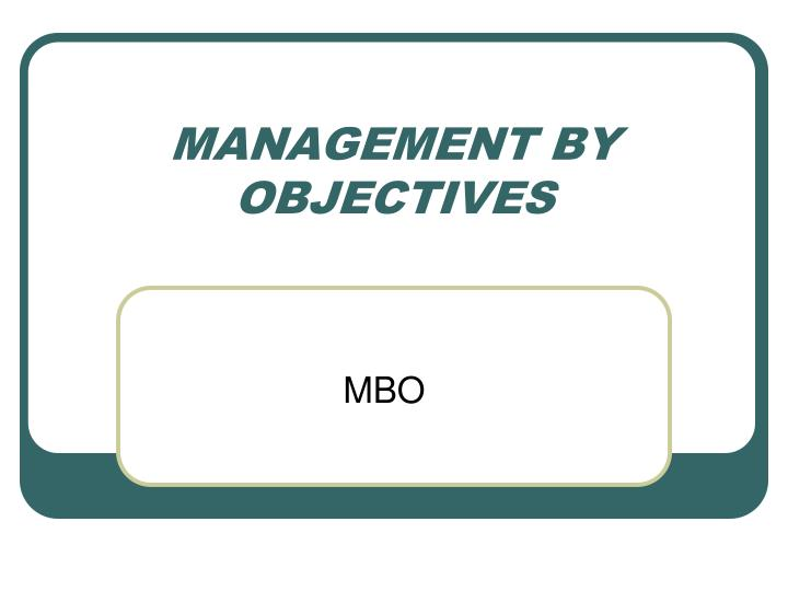 management by objectives n.