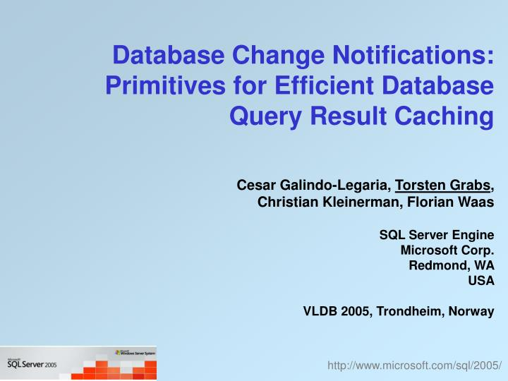database change notifications primitives for efficient database query result caching n.